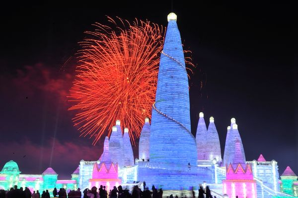 Fireworks light up the sky at the Ice and Snow World park.