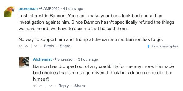 Commenters make their displeasure with Bannon known on Breitbart, the site he helped cultivate.