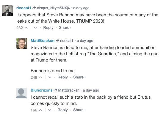 """Bannon is dead to me,"" one Breitbart commenter wrote."