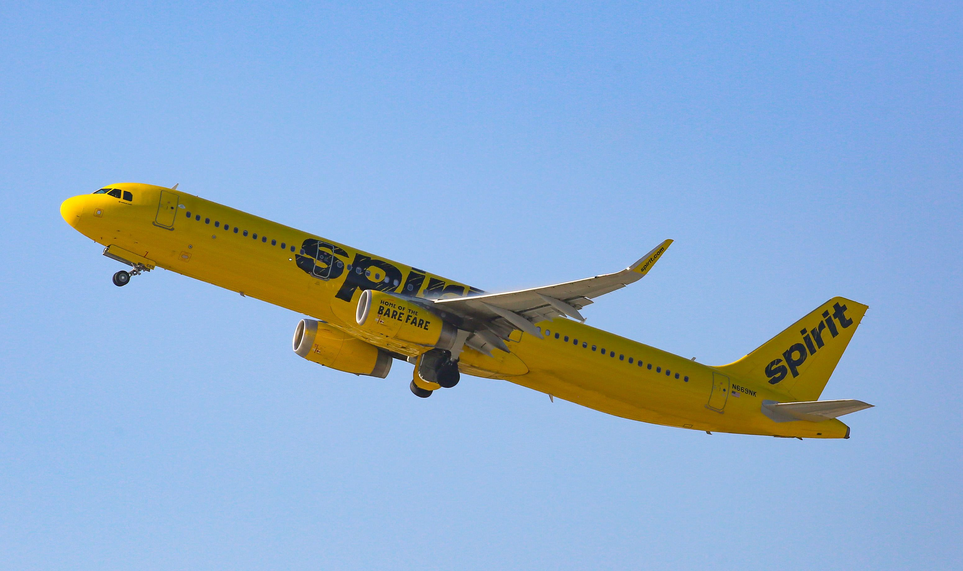 LOS ANGELES, CA - JUNE 18: Spirit Airlines Airbus A319  at Los Angeles International Airport on June 18, 2017 in Los Angeles, California.  (Photo by FG/Bauer-Griffin/GC Images)