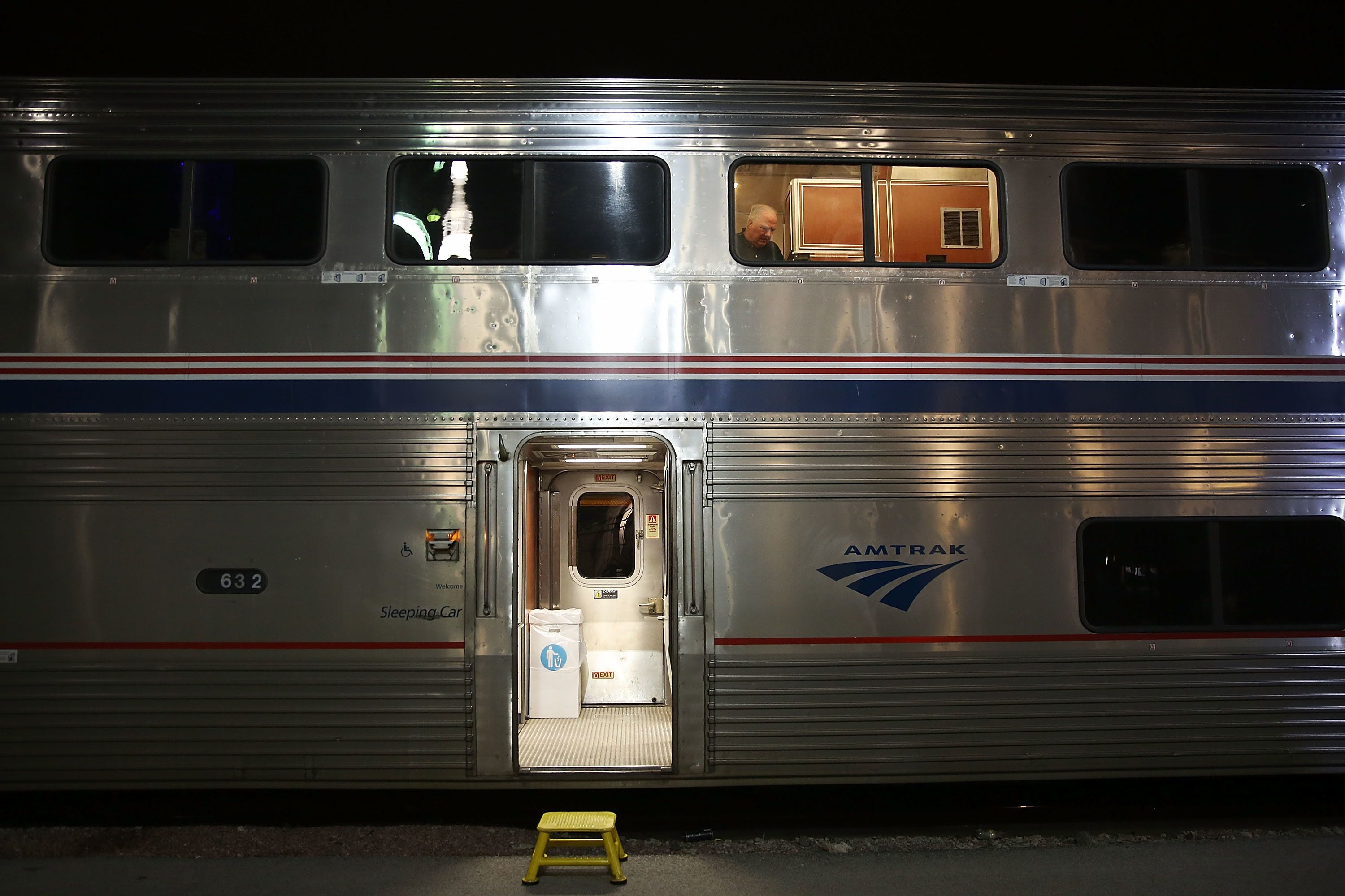 OMAHA, NE - MARCH 23:  Amtrak's California Zephyr stops at a station during its daily 2,438-mile trip to Emeryville/San Francisco from Chicago that takes roughly 52 hours on March 23, 2017 in Omaha, United States.  President Trump has proposed a national budget that would terminate federal support for Amtrak's long distance train services, which would affect the California Zephyr and other long distance rail lines run by Amtrak.  (Photo by Joe Raedle/Getty Images)