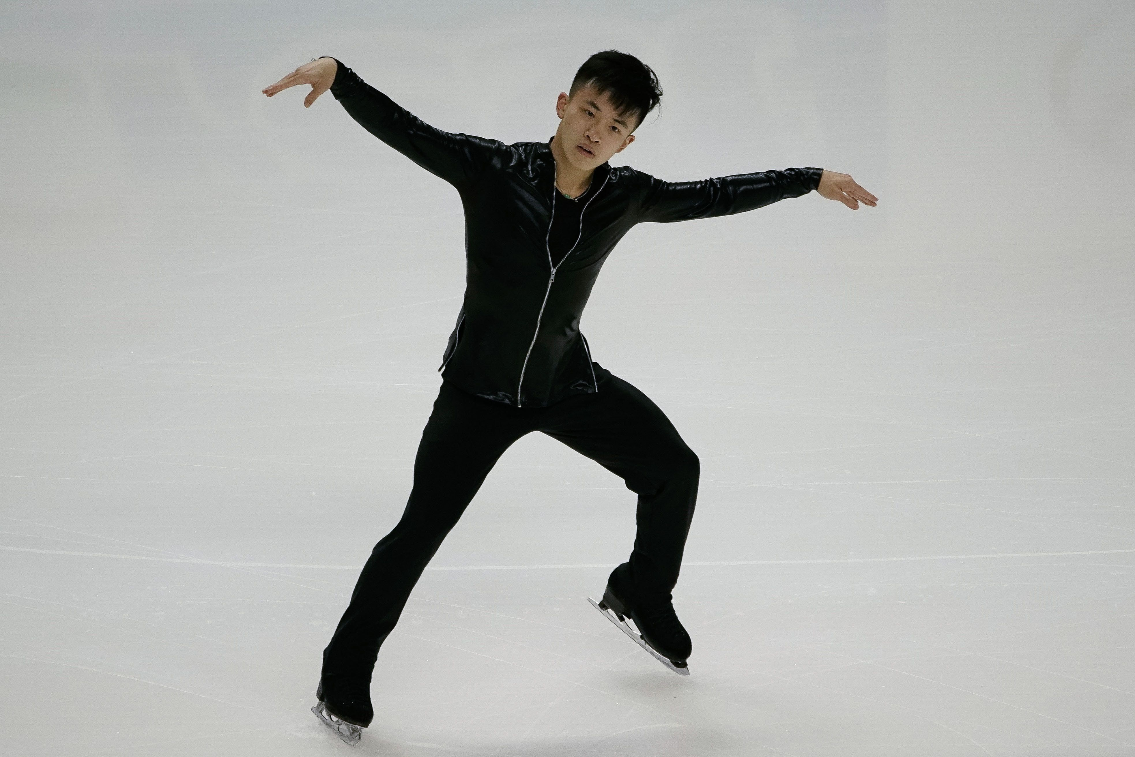 Jan 4, 2018; San Jose, CA, USA; Jimmy Ma performs in the mens short program during the 2018 U.S. Figure Skating Championships at SAP Center.  Mandatory Credit: Stan Szeto-USA TODAY Sports