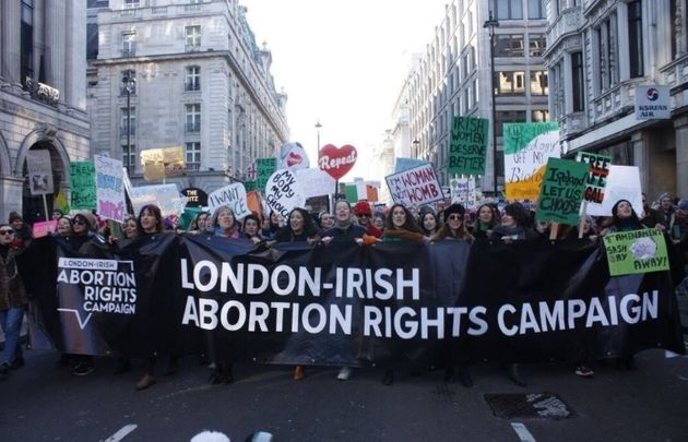 Supporters of the London-Irish Abortion Rights Campaign marching in London in