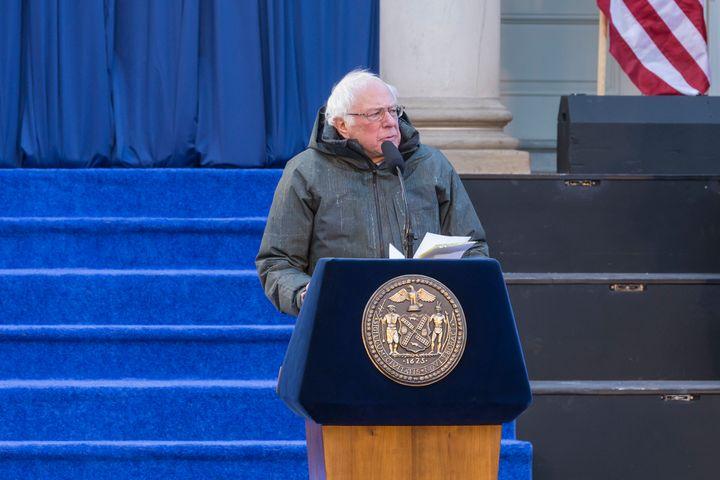 Sen. Bernie Sanders (I-Vt.) speaks at New York City Mayor Bill de Blasio's swearing-in ceremony on Jan. 1, 2018. He was sport