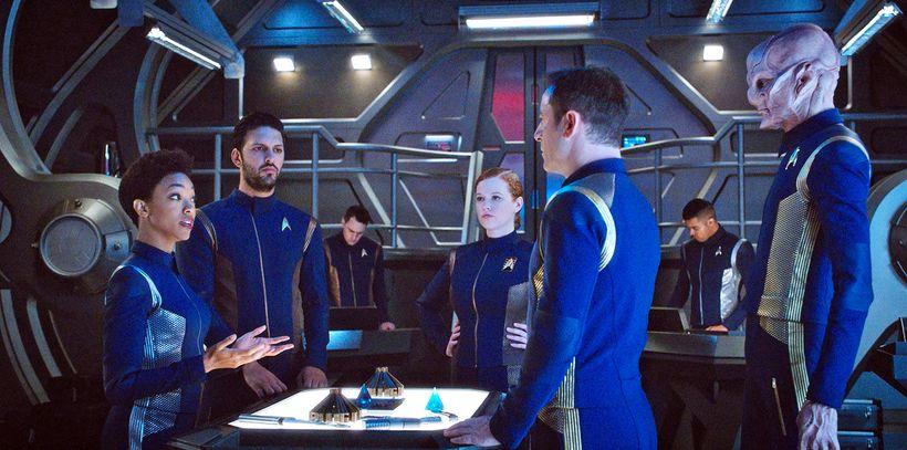 Sonequa Martin-Green as Michael Burnham, Shazad Latif as Lt. Ash Tyler, Mary Wiseman as Cadet Sylvia Tilly, Jason Isaacs as C