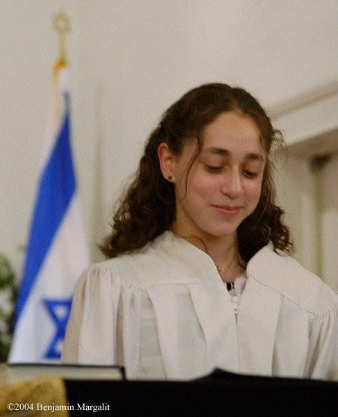 The author chanting Torah at her confirmation service