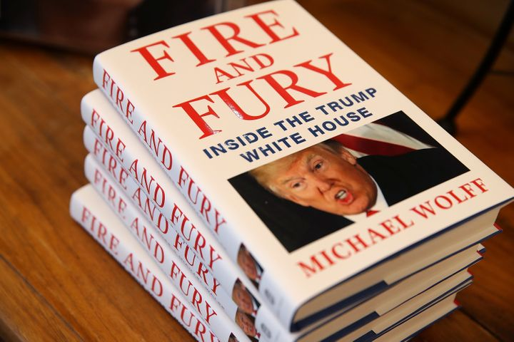 "Copies of the book ""Fire and Fury"" by author Michael Wolff are displayed on January 5, 2018."