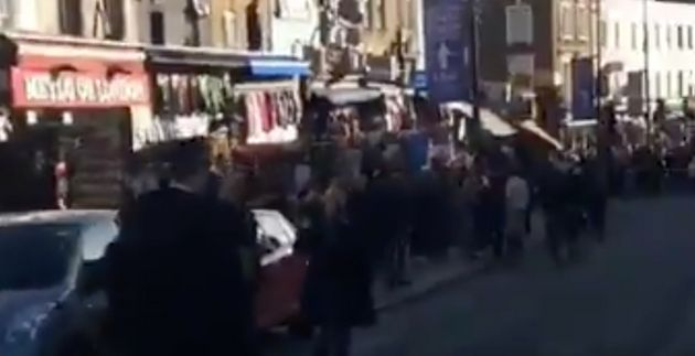 Videos from the scene showed police officers securing the busy market area in north