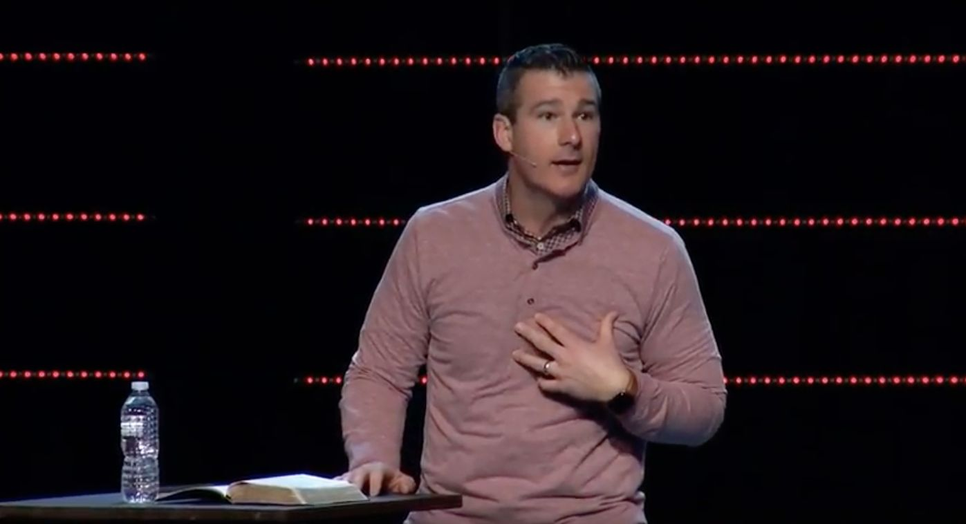 Highpoint Church's Teaching Pastor Andy Savage delivering a sermon in December.