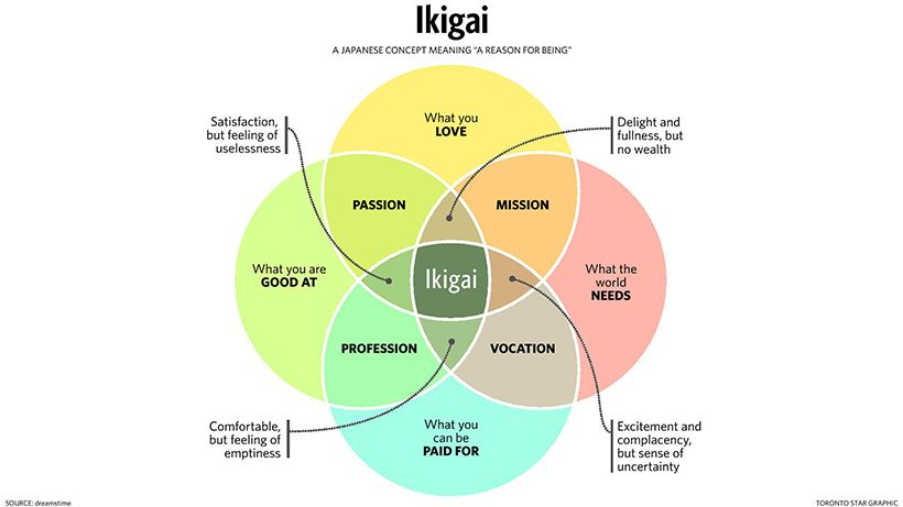The Japanese concept of <em>Ikigai</em>, the search for a reason of being, a Life Purpose.