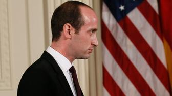 White House Senior Adviser Stephen Miller arrives to attend a joint news conference by German Chancellor Angela Merkel and U.S. President Donald Trump in the East Room of the White House in Washington, U.S., March 17, 2017. REUTERS/Jim Bourg