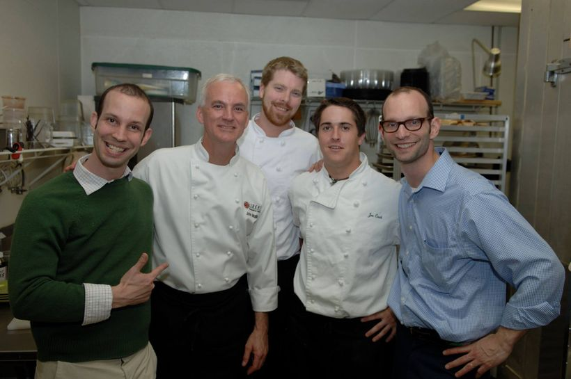 With the Lee Brothers, a bearded Jeff Kelly, and a young Joseph Cash, now Chef de Cuisine at The Pool, NYC