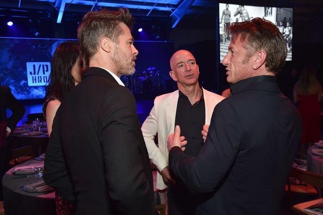 Brad Pitt, Jeff Bezos and Sean Penn attend the 7th Annual Sean Penn & Friends Haiti Rising