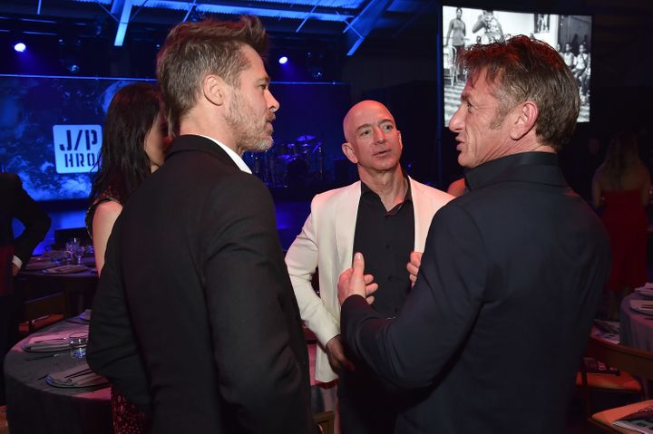 Brad Pitt, Jeff Bezos and Sean Penn attend the 7th Annual Sean Penn & Friends Haiti Rising Gala.