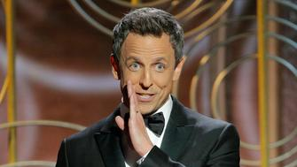 BEVERLY HILLS, CA - JANUARY 07:  In this handout photo provided by NBCUniversal, Host Seth Meyers speaks onstage during the 75th Annual Golden Globe Awards at The Beverly Hilton Hotel on January 7, 2018 in Beverly Hills, California.  (Photo by Paul Drinkwater/NBCUniversal via Getty Images)