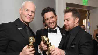 BEVERLY HILLS, CA - JANUARY 07:  (L-R) Director Martin McDonagh, actor James Franco and actor Sam Rockwell celebrate The 75th Annual Golden Globe Awards with Moet & Chandon at The Beverly Hilton Hotel on January 7, 2018 in Beverly Hills, California.  (Photo by Michael Kovac/Getty Images for Moet & Chandon)
