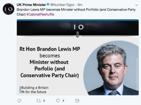 The word portfolio was misspelled in a Number 10 tweet Brandon