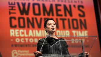 Rose McGowan speaks during The Women's Convention at Cobo Center in downtown Detroit, Friday, Oct. 27, 2017. (Junfu Han/Detroit Free Press/TNS via Getty Images)