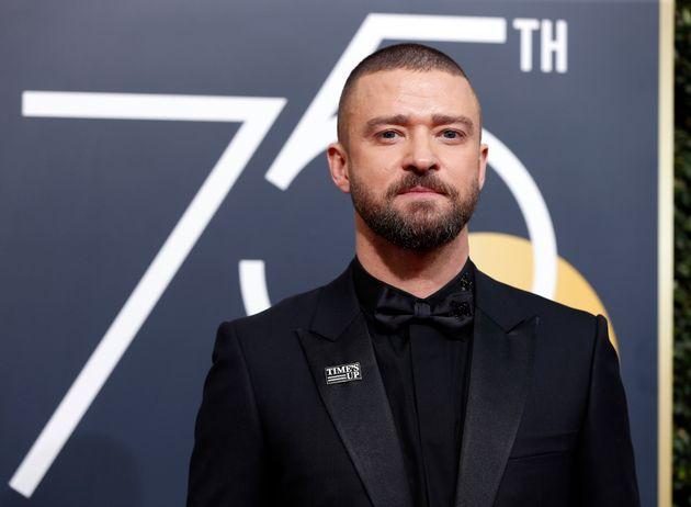 Justin Timberlake arrives at the Golden Globes on Jan.