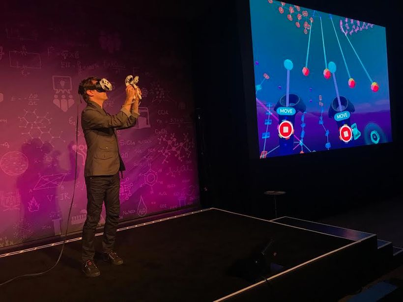 A live music performance on a virtual instrument -- one of the many uses of VR that IFTF is exploring.