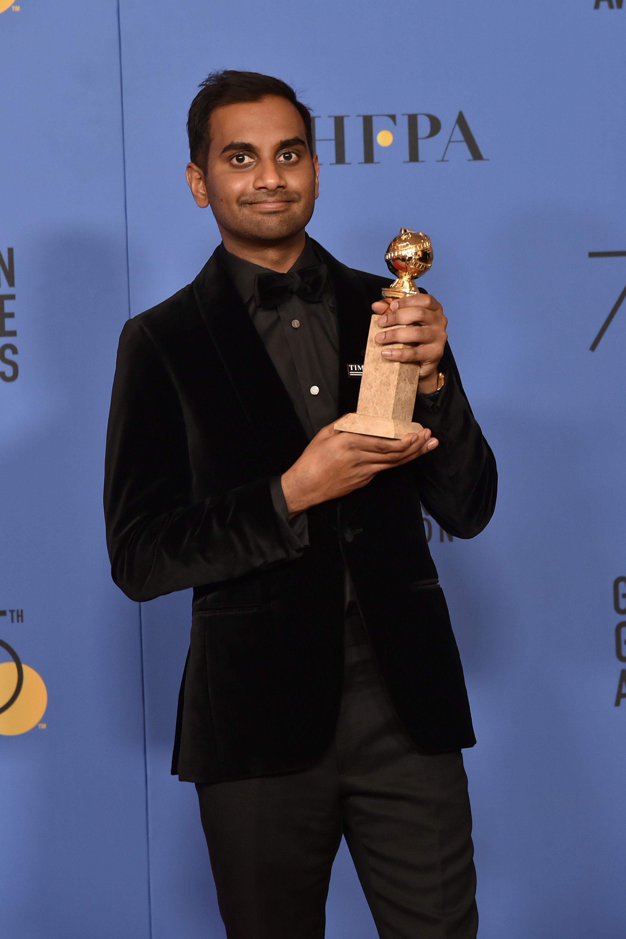 BEVERLY HILLS, CA - JANUARY 07:  Aziz Ansari attends the 75th Annual Golden Globe Awards - Press Room at The Beverly Hilton Hotel on January 7, 2018 in Beverly Hills, California.  (Photo by David Crotty/Patrick McMullan via Getty Images)