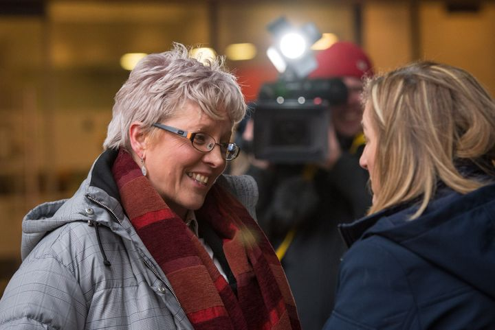 Carrie Gracie speaks to the media after turning down a £45,000 pay rise late last year during the BBC's equal pay controversy