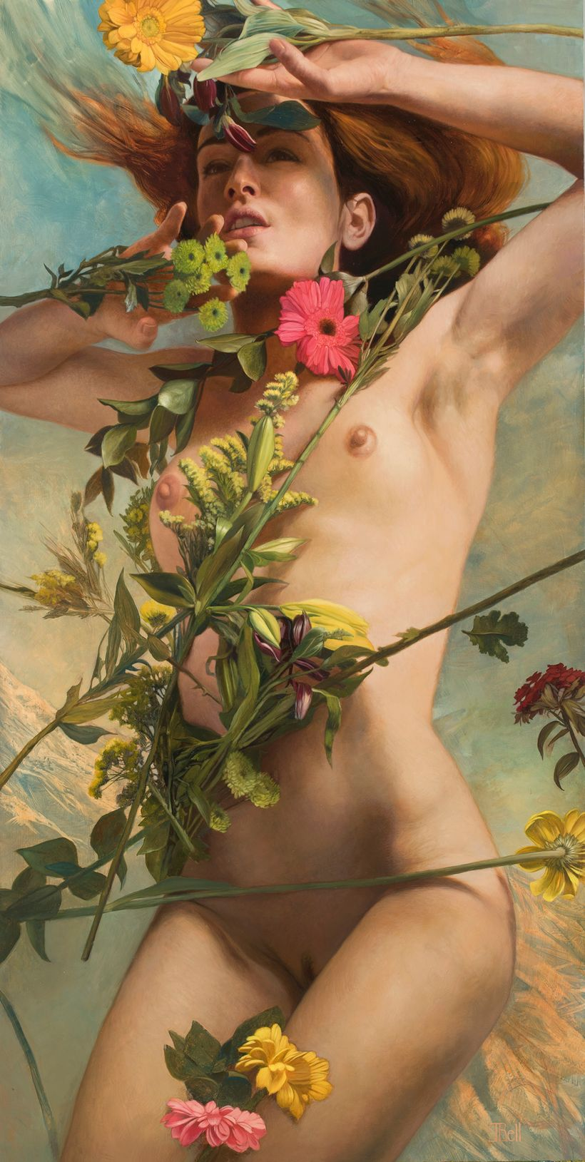 "Accepted work: Julie Bell, <em>Venus Clothed in Flowers</em>, oil on wood, 36""x18"", 2017 ""In developing my approach for creat"