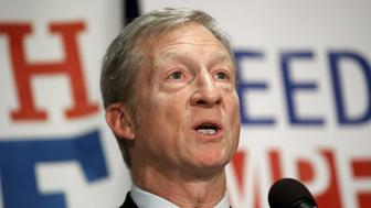 WASHINGTON, DC - DECEMBER 06:  Billionaire hedge fund manager and philanthropist Tom Steyer speaks during a press conference at the National Press Club December 6, 2017 in Washington, DC. Steyer, founder of the 'Need To Impeach' initiative, presented legal grounds calling for the impeachment investigation of U.S. President Donald Trump during the press conference.   (Photo by Win McNamee/Getty Images)