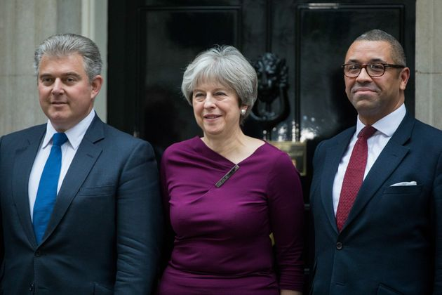 Theresa May with her new party chairman Brandon Lewis and deputy chairman James