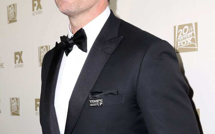 """There were lots of """"Time's Up"""" pins at the Golden Globes, butfew words from men about the movement."""