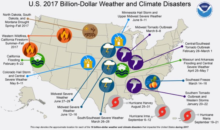 NOAA                   A map created by NOAA shows the 16 disasters that cost more than $1 billion