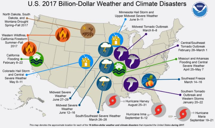 A map created by NOAA shows the 16 disasters that cost more than $1 billion.