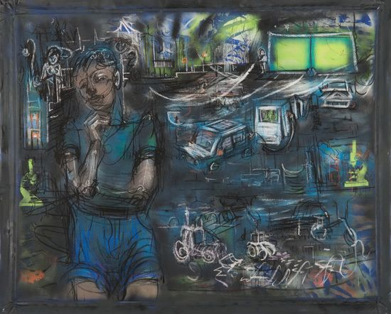 """It's A Gas, 2017, charcoal, pastel, spray paint, acrylic on canvas, 54"""" x 64"""""""