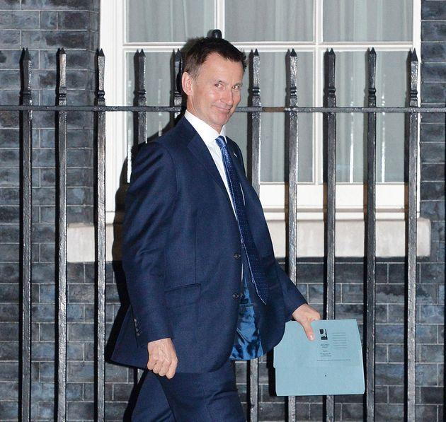 Hunt leaving Downing Street earlier