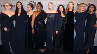 BEVERLY HILLS, CA - JANUARY 07:  ( L-R) Actor Meryl Streep, activist Ai-jen Poo, actor Natalie Portman, activist Rosa Clemente, actors Michelle Williams, America Ferrera, Jessica Chastain, Amy Poehler and activist Saru Jayaraman attend the 2018 InStyle and Warner Bros. 75th Annual Golden Globe Awards Post-Party at The Beverly Hilton Hotel on January 7, 2018 in Beverly Hills, California.  (Photo by Joe Scarnici/Getty Images for InStyle)