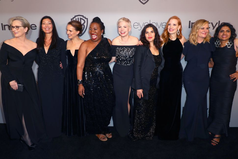 Activists and actresses at Sunday night's Golden Globes awards.