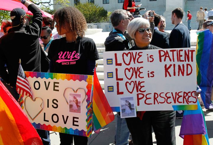 Supporters of marriage equality gather outside the Supreme Court on April 28, 2015.