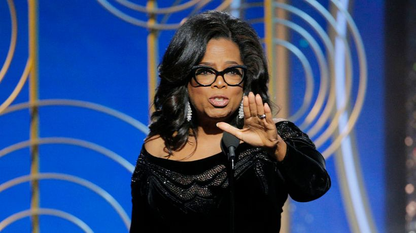 Oprah Winfrey accepting the Cecil B. DeMille Award at the 75th Annual Golden Globe Awards.