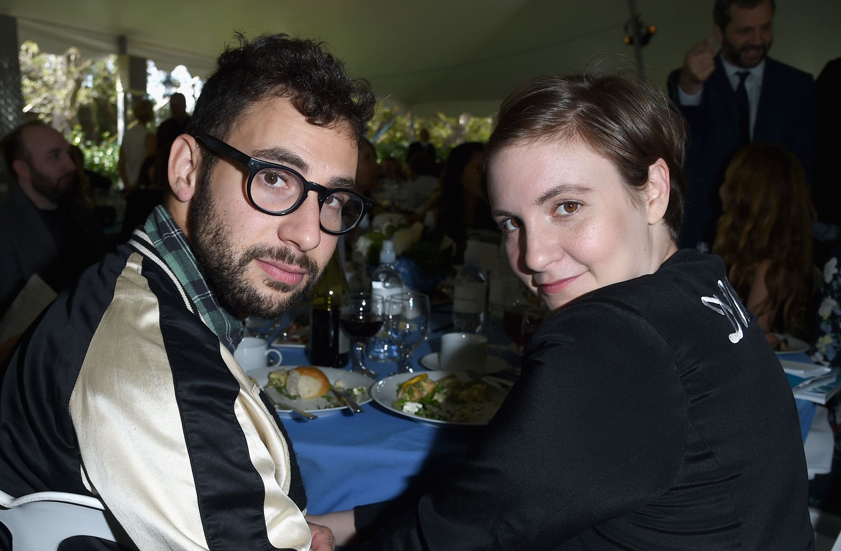 BEVERLY HILLS, CA - OCTOBER 04:  Musician Jack Antonoff and actress/writer Lena Dunham attend The Rape Foundation's annual brunch at Greenacres, The Private Estate of Ron Burkle on October 4, 2015 in Beverly Hills, California.  (Photo by Jason Merritt/Getty Images for The Rape Foundation)