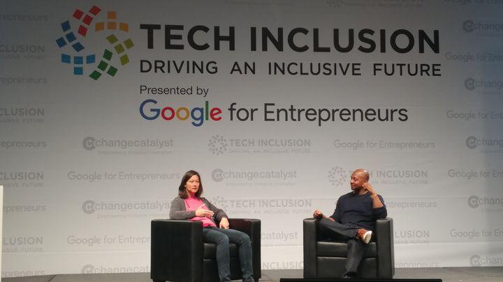 <p>Elizabeth talking about tech inclusion </p>