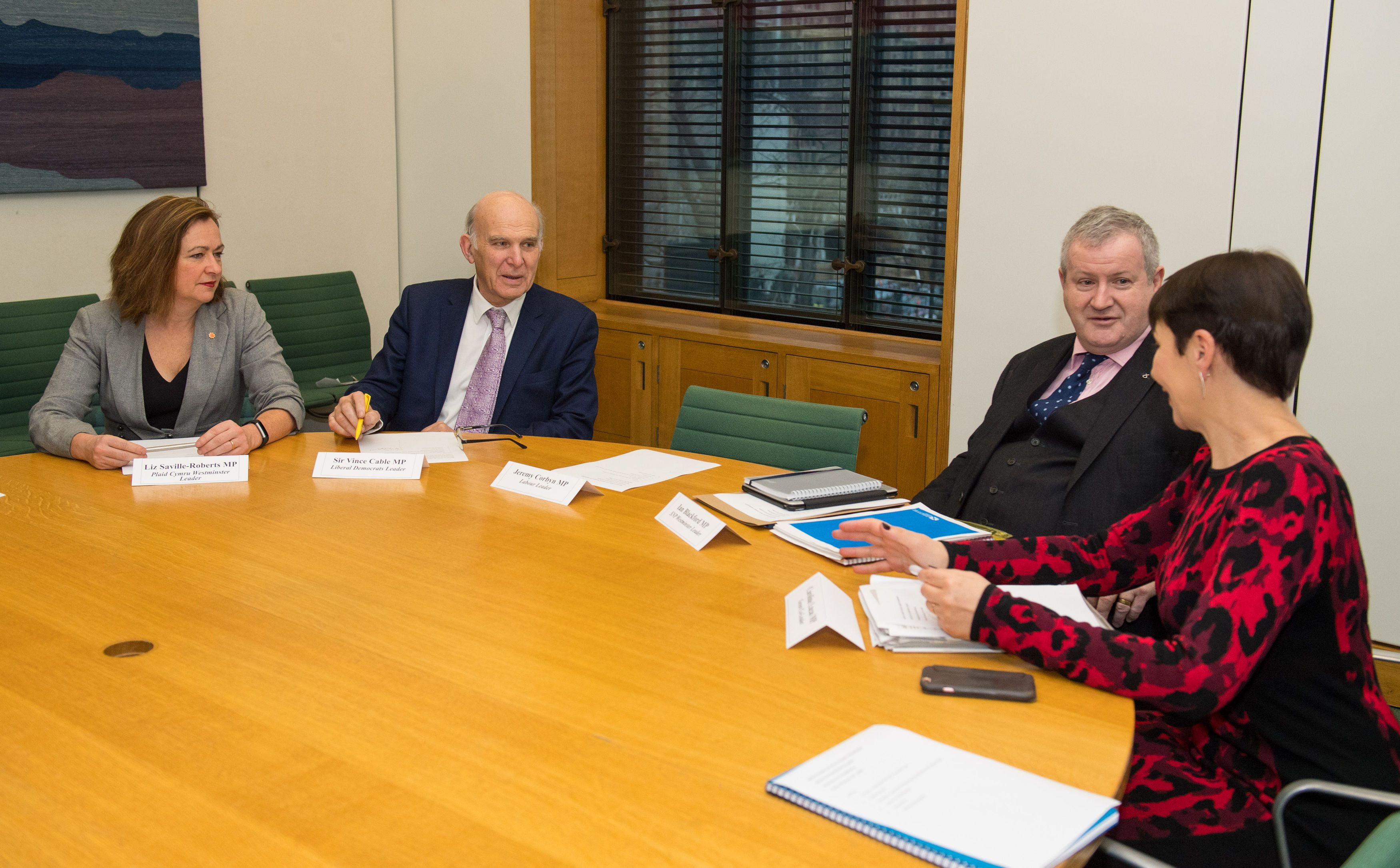 <strong>Liz Saville-Roberts with Vince Cable, Ian Blackford and Caroline Lucas at the cross-party summit on fighting hard Brexit</strong>