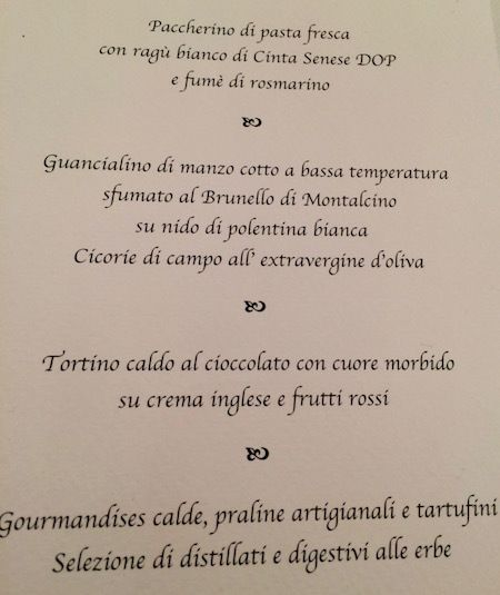 Our menu for the dinner included fresh pasta with a ragu sauce made of boar from Siena and slowly cooked beef on a bed of whi