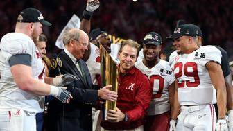 Jan 8, 2018; Atlanta, GA, USA; Alabama Crimson Tide head coach Nick Saban celebrates with his team after defeating the Georgia Bulldogs to win the 2018 CFP national championship college football game at Mercedes-Benz Stadium. Mandatory Credit: Brett Davis-USA TODAY Sports