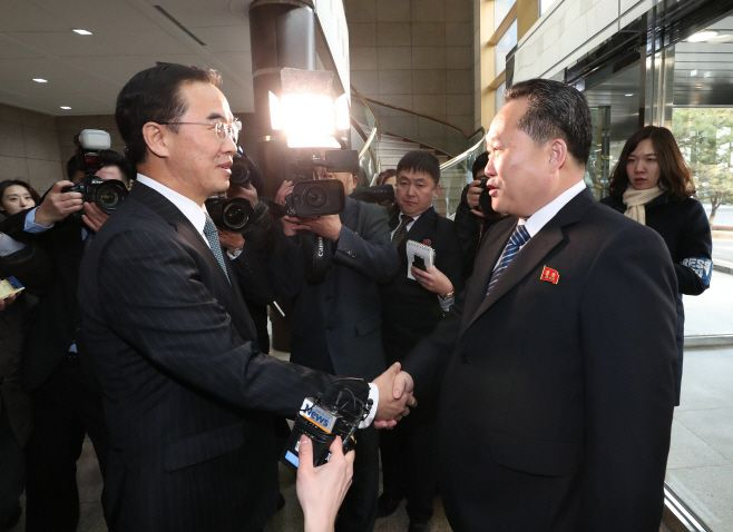 The high-level inter-Korean talks were held at the Peace House at the Panmunjom in South Korea, Tuesday, Jan. 9, 2018. South