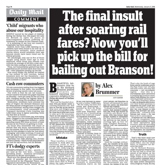 Virgin Trains Will No Longer Stock Daily Mail On West Coast