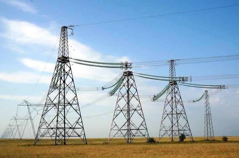 Power lines in Kazakhstan