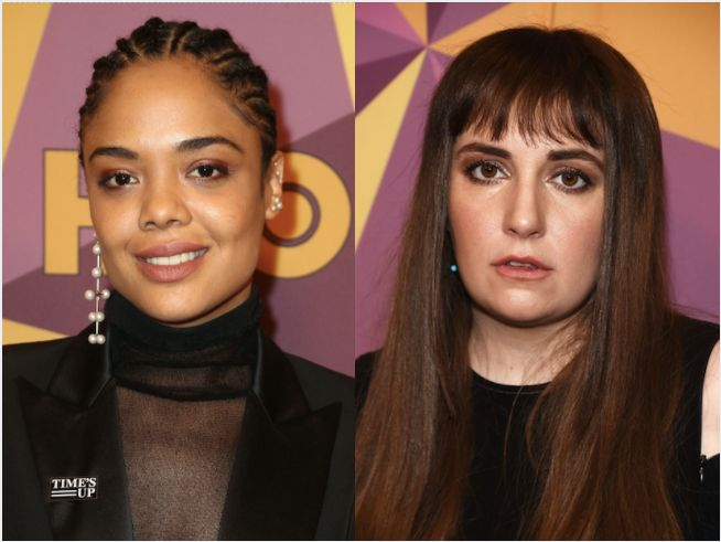 Tessa Thompson and Lena Dunham attend the HBO Golden Globes afterparty on Sunday.