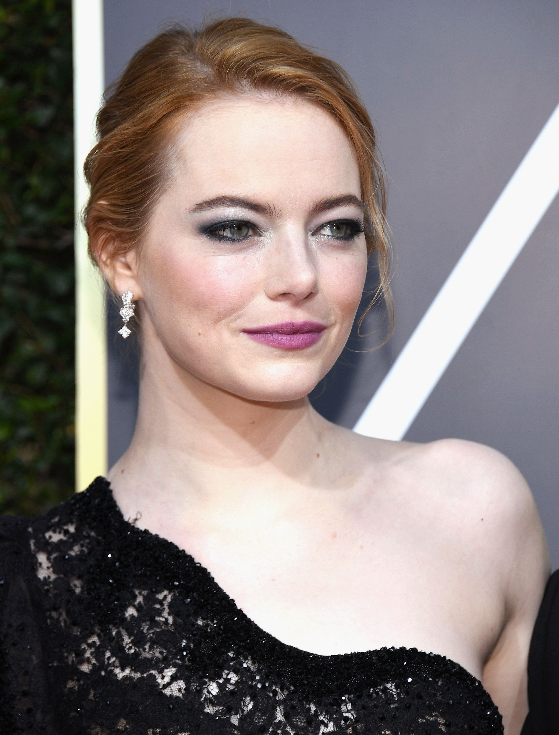 BEVERLY HILLS, CA - JANUARY 07:  75th ANNUAL GOLDEN GLOBE AWARDS -- Pictured: Emma Stone arrives to the 75th Annual Golden Globe Awards held at the Beverly Hilton Hotel on January 7, 2018.  (Photo by Kevork Djansezian/NBC/NBCU Photo Bank via Getty Images)