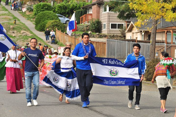 Salvadorans take part in a Salvadoran independence day parade in Seattle in 2015. With the latest move by the Trump administr