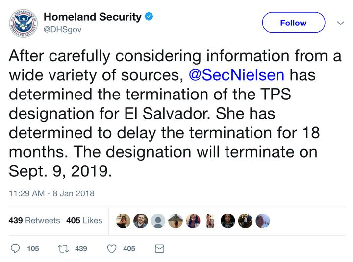 The official Twitter account of the Department of Homeland Security disseminates news of the cancellation of TPS for Salvador
